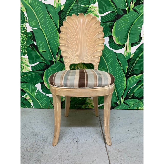 Mid-Century Modern Italian Decorative Venetian Shell Back Dining Chairs, Set of 6 For Sale - Image 3 of 8