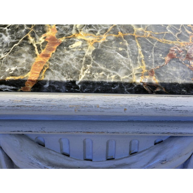 Pair of Neoclassical Carved Gray Painted Gustavian Style Marble Top Pedestals For Sale - Image 11 of 13