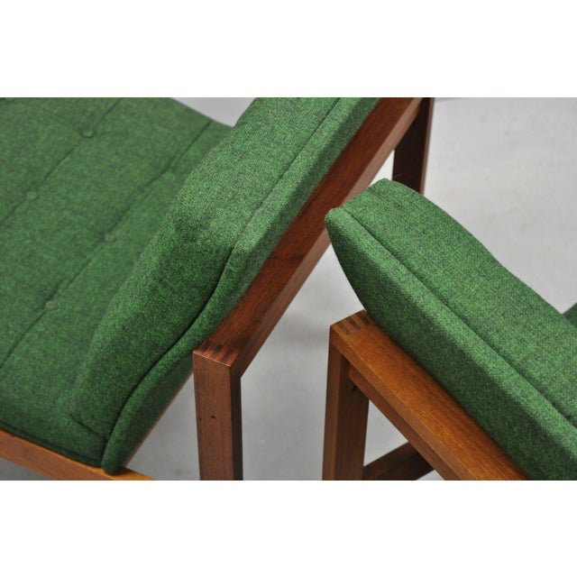 Teak 1960s Vintage Gjerlov Knudsen Torben Lind France & Son Green Teak Moduline Slipper Chairs- A Pair For Sale - Image 7 of 11