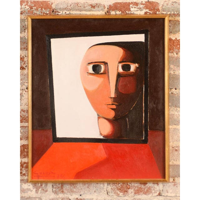 By Antonio Guance, 'Face by the Window' is an original oil painting in the style of modernism. This painting is from the...