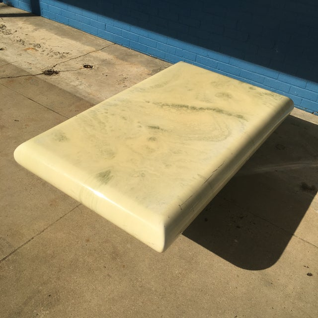 Post-Modern Bullnose Marbleized Lacquer Coffee Table For Sale In New Orleans - Image 6 of 10