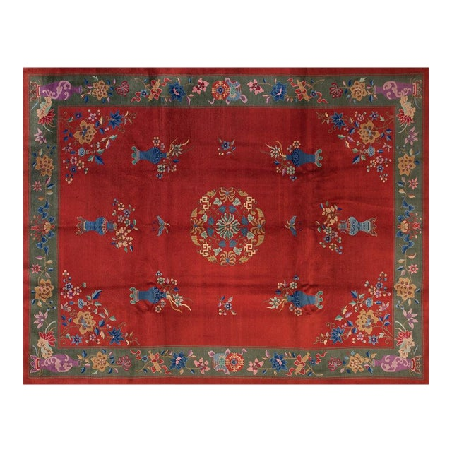 """1930s Chinese Art Deco Rug - 9'x11'9"""" For Sale"""