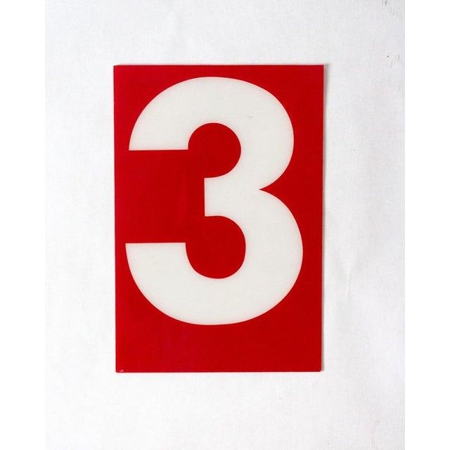 "American Vintage Gas Station Sign ""Number 3"" For Sale - Image 3 of 3"