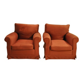 Brick Red Club Chairs - A Pair For Sale