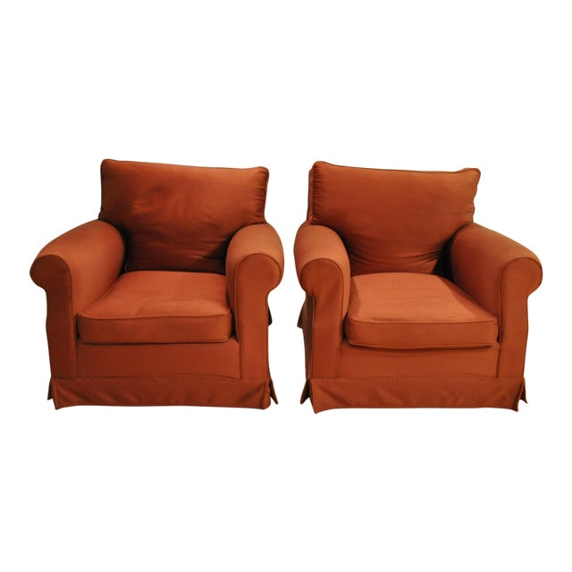 Brick Red Club Chairs - A Pair - Image 1 of 3
