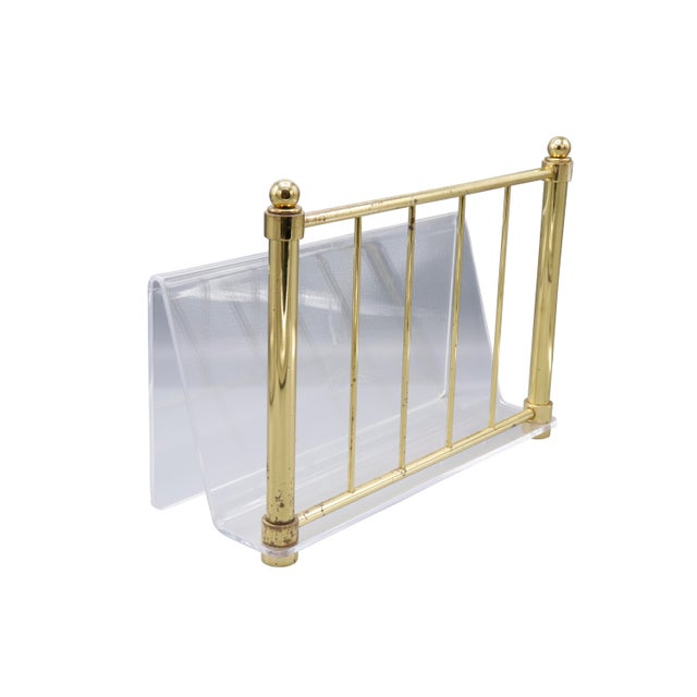 Brass 1980s Hollywood Regency Mid Century Brass and Lucite Magazine Rack For Sale - Image 8 of 8