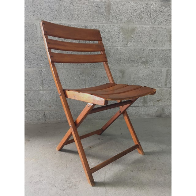 Vintage Rustic Slat Wood Folding Chairs - A Pair - Image 5 of 9