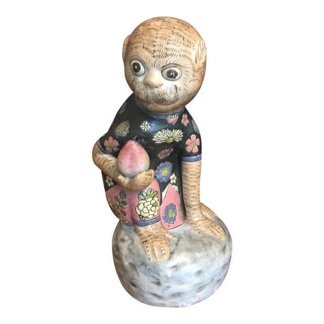 Chinese Ceramic Monkey & Peach Statue For Sale