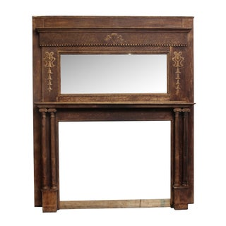 Turn of the Century Two Tier Wooden Mantel With Carved Detail