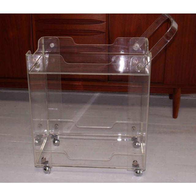 Lucite Bent Lucite Mid-Century Modern Tea Cart For Sale - Image 7 of 7