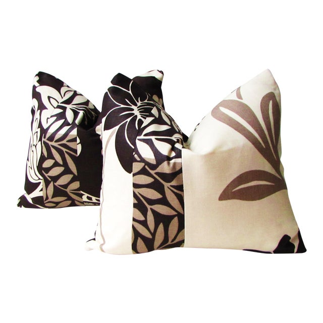 Romo Black & White Modern Floral Pillow Covers - a Pair For Sale