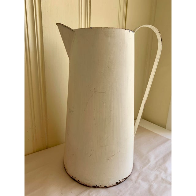 Rustic Farmhouse Large Metal Pitcher Vessel For Sale - Image 9 of 11