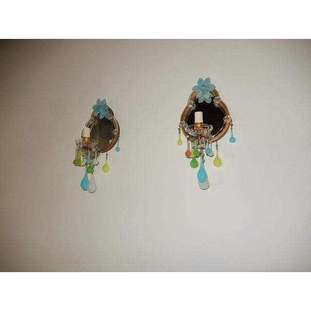 French Multicolored Opaline Murano Glass Mirrored Sconces For Sale - Image 10 of 13