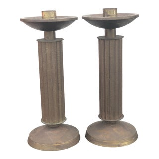 Swiss Brass Candlestick Set by Carl Moser Studio For Sale