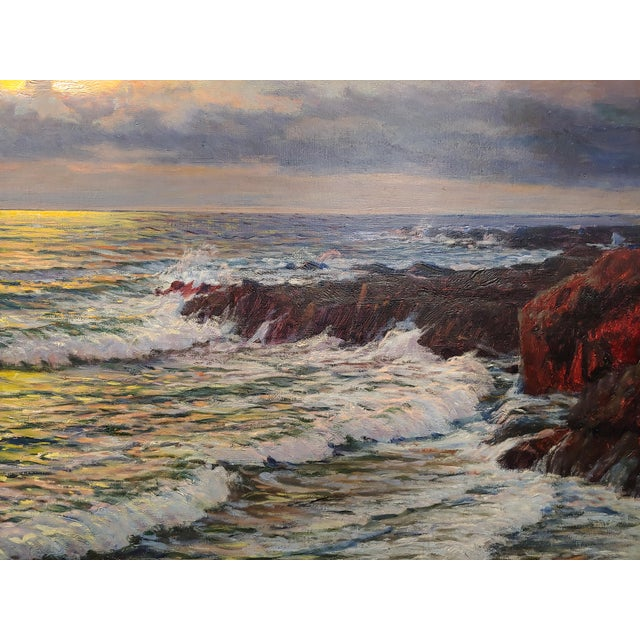 "Canvas Vartan Mahokian ""Seascape Magic Sunset"" Oil Painting C.1920s For Sale - Image 7 of 11"