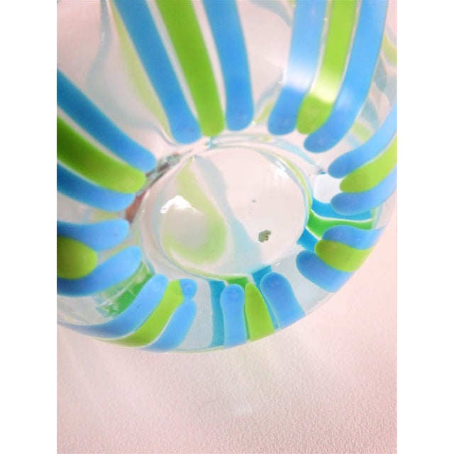 Hand Blown Green and Blue Glass Vase For Sale - Image 11 of 13