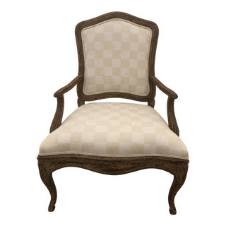 Pair of Fauteuil Style Chairs With Checkered Upholstery For Sale