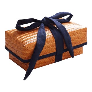Handmade Ribbon Wrapped Bamboo Box For Sale