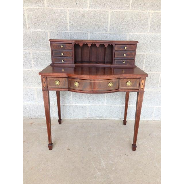Baker Furniture Inlaid Mahogany 9 Drawer Writing Desk - Image 2 of 9