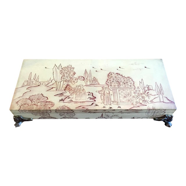 Vintage Mid-Century Sarreid Ltd. Chinoiserie Painted Mural Decorative Box For Sale