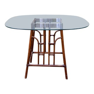20th Century Chinoiserie Bamboo Base Dining Table For Sale