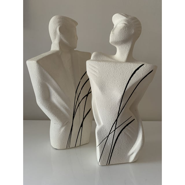 """White 1980's """"New Wave"""" Figurative Ceramic Sculptures - a Pair For Sale - Image 8 of 8"""