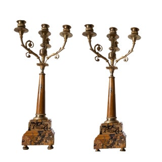 19th Century Antique French Sienna Marble and Gilded Bronze Candelabras-A Pair Empire For Sale