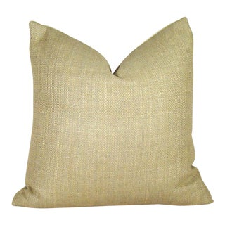Khaki Herringbone Raw Silk Pillow Cover For Sale