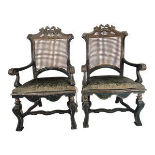 18th Century Italian Louis XIV Caned Fauteuils - a Pair For Sale
