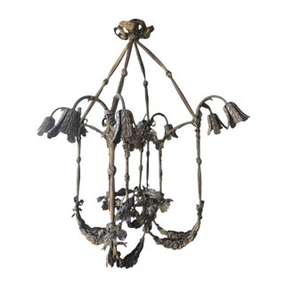 Floral Appliqué Antique French Brass Chandelier For Sale