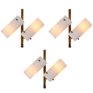 1950s Modern Stilux Double-Glass and Brass Wall Lights - Set of 3