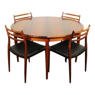 1960s Danish Modern Niels Otto Møller for J. L. Møller Brazilian Rosewood Dining Set - 5 Pieces For Sale