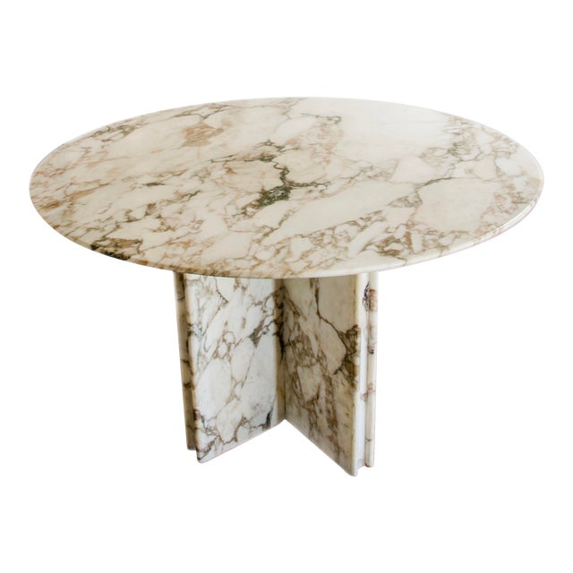 Made to Order Italian Calacatta Marble Round Dining / Center Table For Sale