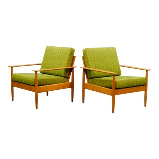 Mid-Century Scandinavian Pair of Beech Wood Ladder Lounge Chairs, 1960s For Sale