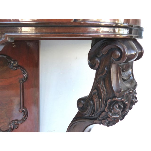 Mahogany Carved Two-Drawer Console Table With Mahogany, Satinwood and Ebonized Wood For Sale - Image 7 of 13