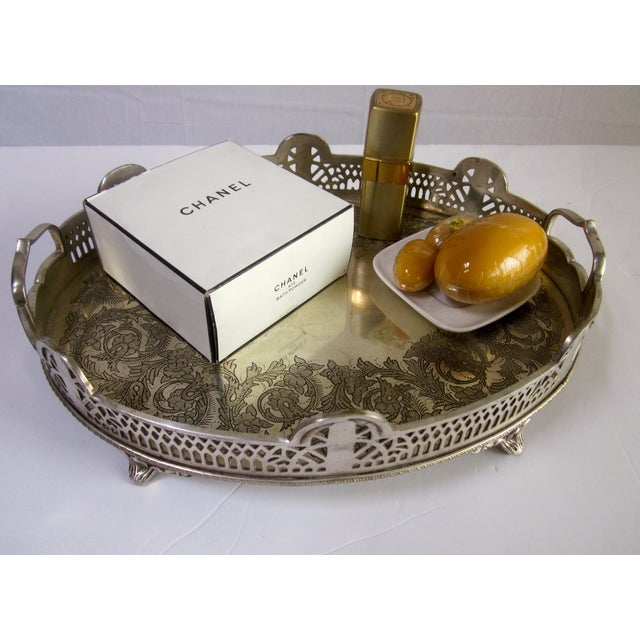 Ornate Silver Perfume Vanity Serving Tray - Image 5 of 8