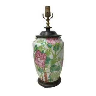 Vintage Painted Peonies Jar Lamp