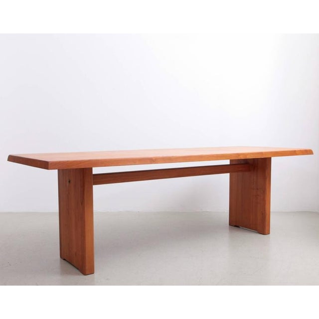 Pierre Chapo Rare Large Pierre Chapo T14D Dining Table in Elmwood, France, 1970s For Sale - Image 4 of 6