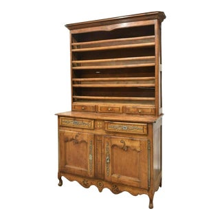1800's Antique Vaisselier French Louis XV Style Fruitwood Display Cupboard For Sale