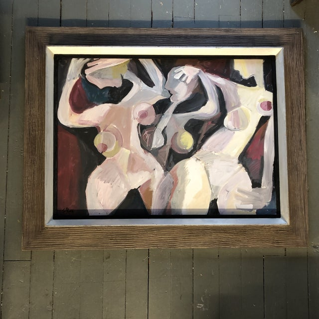 Canvas Original Contemporary Stewart Ross Modernist Abstract Female Nude Painting in Modernist Frame For Sale - Image 7 of 7