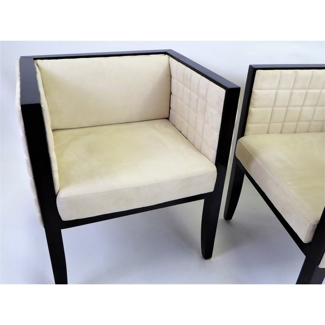 1990s 1990s Pietro Costantini Quilted Ultrasuede Yale Armchairs - a Pair For Sale - Image 5 of 12