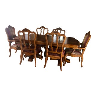 Ethan Allen Tuscan Double Pedestal Dining Set For Sale