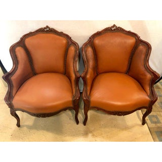 Pair of Early 1920s Louis XV Style Barrel Back Bergere Armchairs Preview