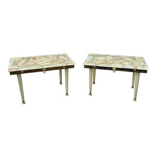 1960s Onyx and Brass Side Tables by Muller's Onyx Attributed to Arturo Pani-A Pair For Sale