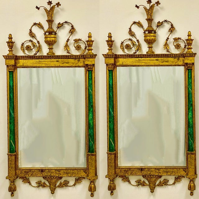1960s Neo-Classical Style Giltwood & Faux Malachite Italian Mirrors - a Pair For Sale - Image 5 of 5