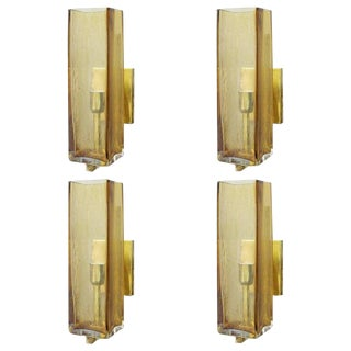 Set of Four Geometric Murano Glass Sconces For Sale