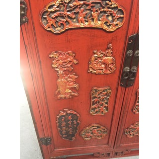 Antique Carved Asian Red Lacquer & Gold Cabinet Preview