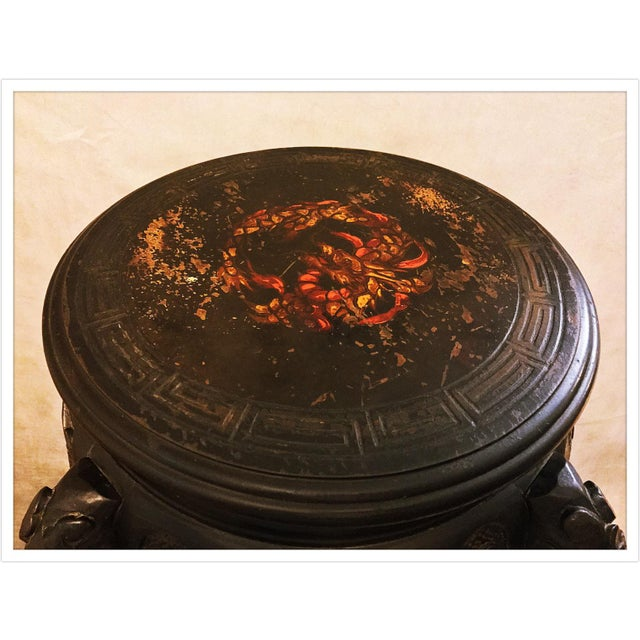 Vintage Asian Chinese Carved Plant Stand Table - Image 4 of 11
