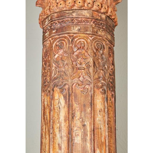 Pair of Orange Tall Indian Teak Wood Pillars - Image 7 of 9