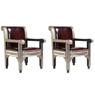 Fine Leather Hollywood Regency Style Moroccan/ Bergere /Armchairs- a Pair For Sale